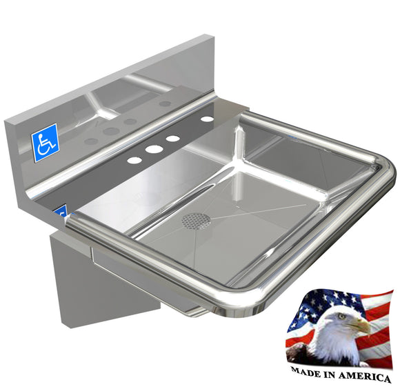 ADA HEAVY DUTY STAINLESS STEEL HAND SINK MADE IN USA 18-3/4