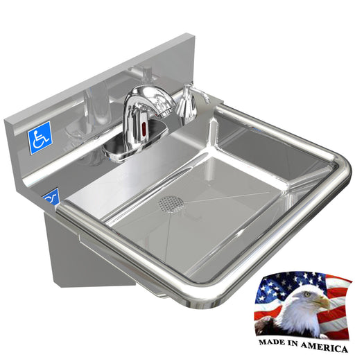 ADA HAND SINK MADE IN USA, NO LEAD ELECTRONIC SLOAN FAUCET WELDED DRAIN HEAVY D. - Best Sheet Metal, Inc.