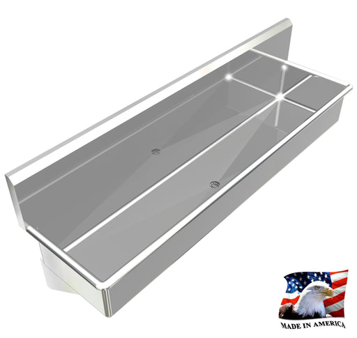"Heavy Duty 14 gauge (0.0781"") Type 304 Stainless Steel Wash up Sink, 76"", Wall Brackets 