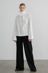 Ando pleated front shirt in white