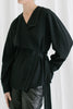 Leah wrap blouse in black