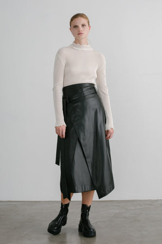 Max front wrap vegan leather skirt