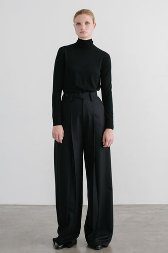 Serra Wide Leg Pleated Wool Pant -webshop exclusive-