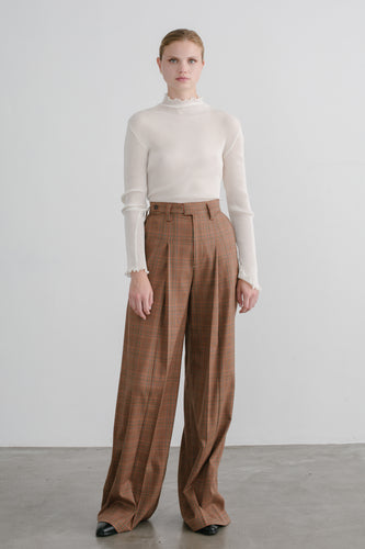 Serra Wide Leg Pleated Pant in Brown Plaid
