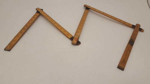 Rabone 6' Wooden 6 Part Zig-Zag Rule 18513-The Vintage Tool Shop