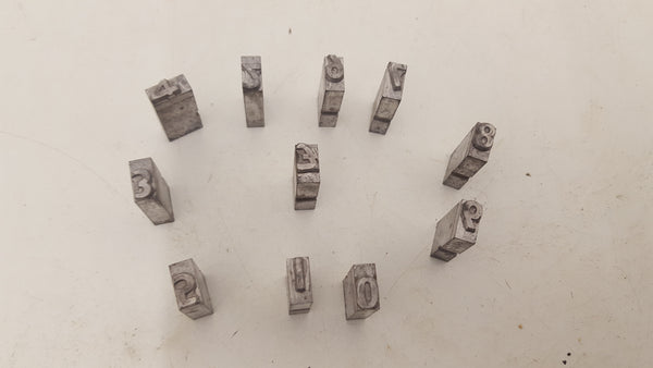 "Letterpress Printing Letter Type 0 - 9 £ 10mm"" Height 7mm"" Character 01074"