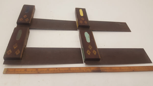 "Job lot of 4 Vintage Brass & Wood Marples 6"" Try Squares 20632"