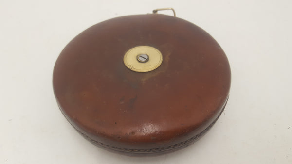 Beautiful Vintage Broad Arrow 100ft Tape Measure in Leather Case 20640