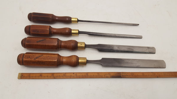 "Beautiful Set of 4 Paring Gouges 1/4"" to 7/8"" Ibbotson Herring Nurse 20743"