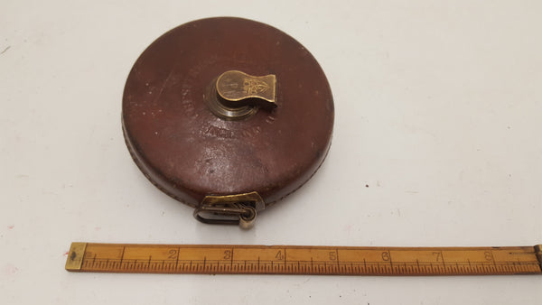 Beautiful Chesterman Wind Up Tape Measure Broad Arrow 50ft w Leather Case 20874