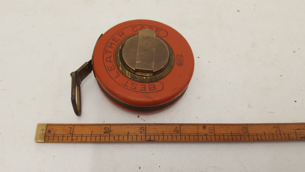 Vintage BMI Metal Wind Up Tape Measure 25ft Leather Case 21245