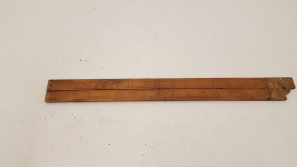 "Vintage Bevel Edged Wooden & Brass Folding Square 18"" 21363"