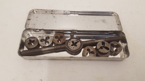 Job lot of 8 Threading  Dies w Wrench 23782