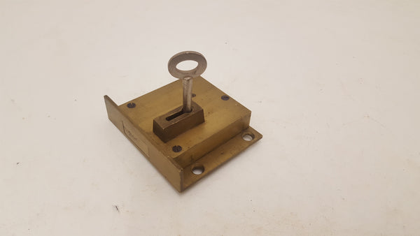 Vintage Brass Downward Lock w Key 24046