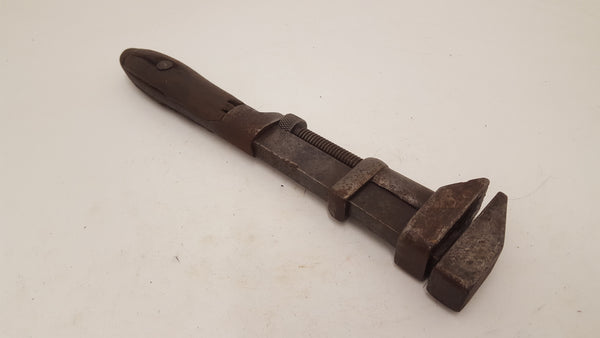 "Large Vintage 14 1/2"" Coes Steel Wrench w Wooden Handle 24451"