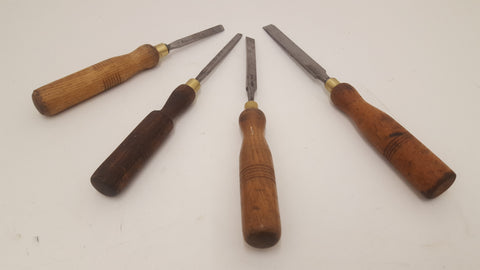 "Mixed Job lot of 4 Vintage Firmer Chisels 1/4 - 1/2"" 25427"