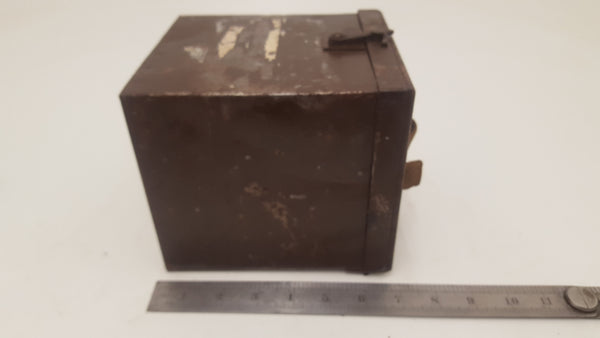 "7 x 6 x 6"" Military Box w Interesting Lock & Canvas Handle 25453"