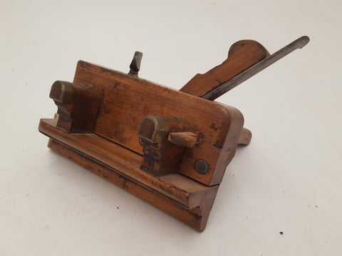Antique Sims Wooden Plough Plane w Brass Thumb Screw 26122