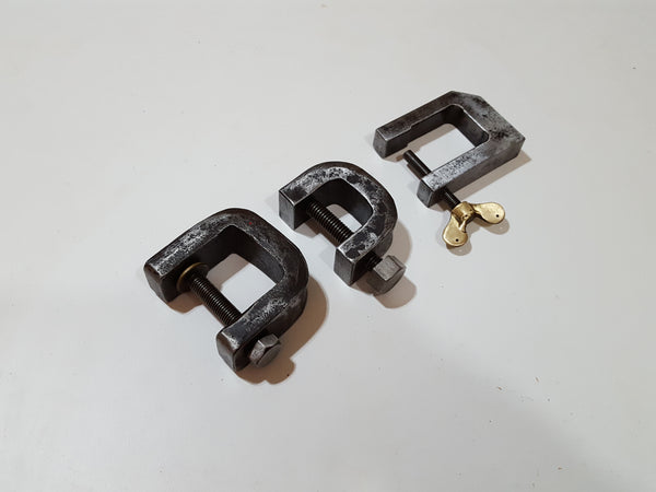 "Set of 3 Vintage D Clamps 1 1/8 1 1/4 & 1 1/2"" 27455"