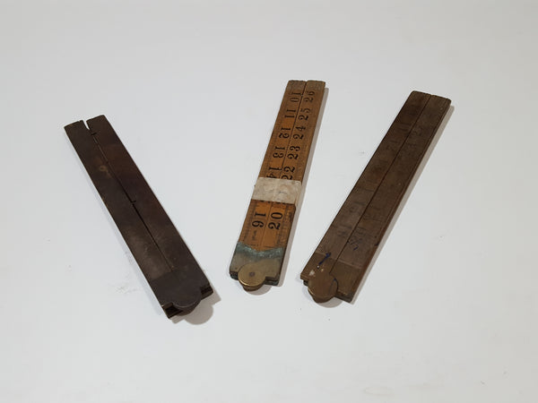 Bundle of 3 Vintage Unrestored Wooden Folding Rules 27559