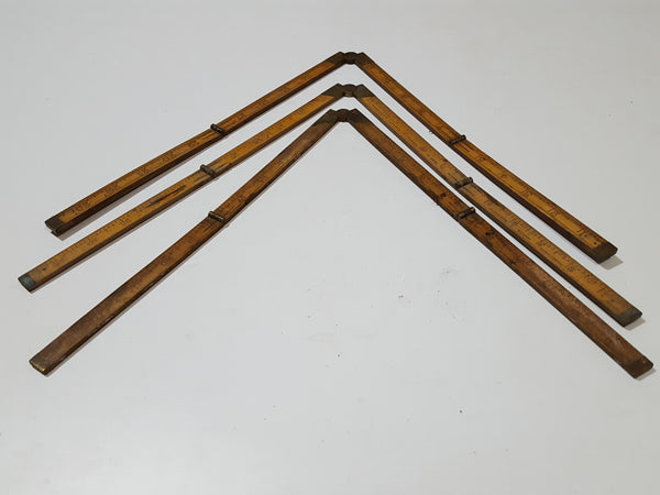 Bundle of 3 Unrestored Vintage Wooden Folding Rules 27576