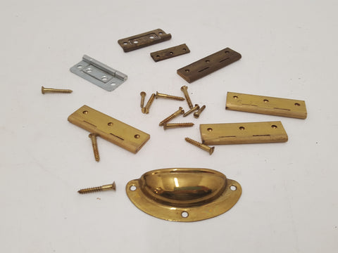Misc. Assorted Brass Screws Hinges etc 29561