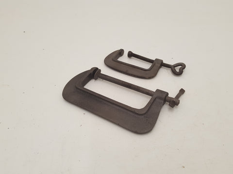 "Mixed Pair of G Clamps / Cramps 2 & 3 1/2"" 30778"