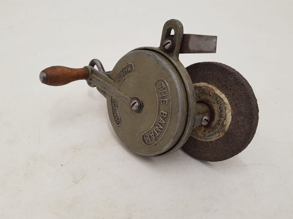 "Small 3/8"" Vintage The Bantam Cranked Grinding Wheel w Bench Clamp 31336"