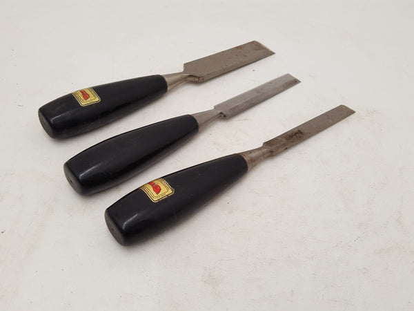 "Set of 3 Quality Footprint Firmer Chisels w Plastic Handles 1/2 3/4 & 1"" 31391"