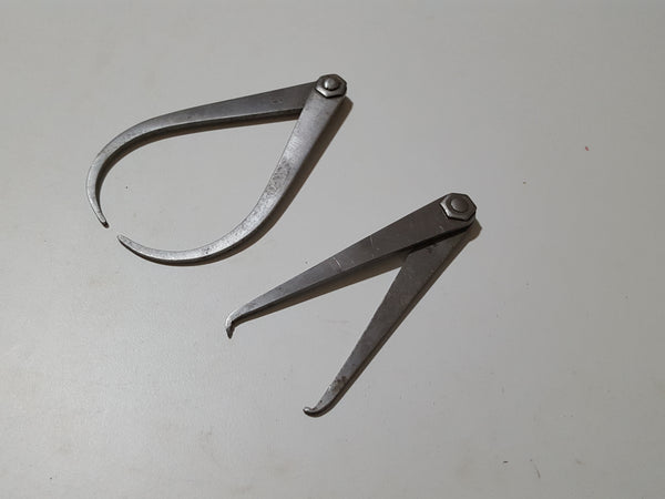 "Pair of Nice Vintage Fixed Joint Calipers 4 & 4 1/2"" 32847"