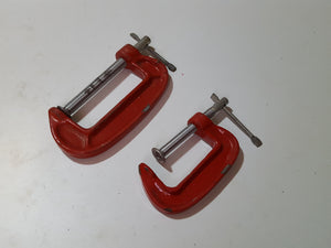 "Pair of Small G Clamps 2 3/4 & 1 3/4"" 33033"