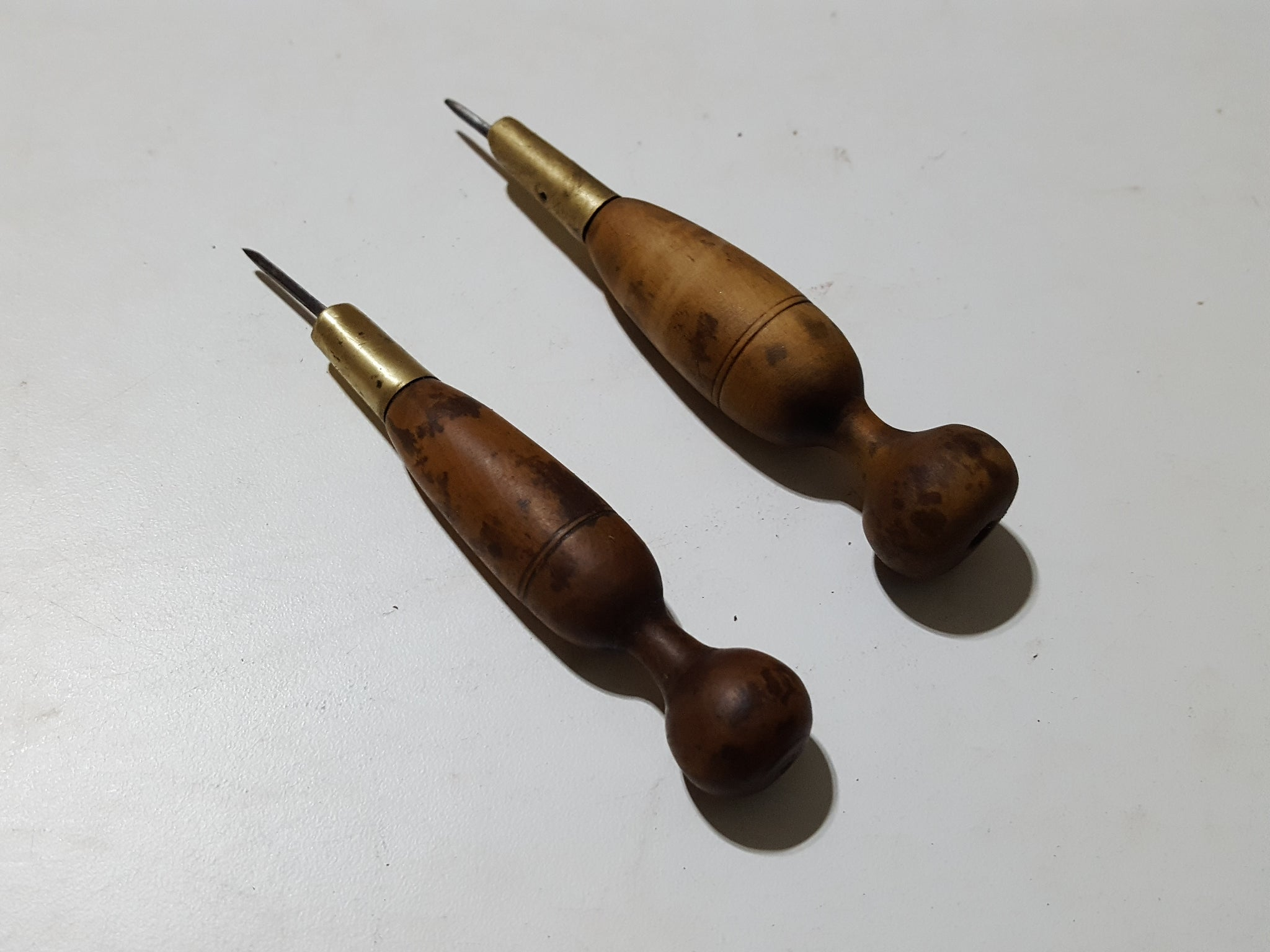 Pair of Tiny Vintage Leather Working Awls 33214