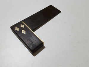 "6 1/2"" Vintage Brass Wood & Steel Try Square 33594"