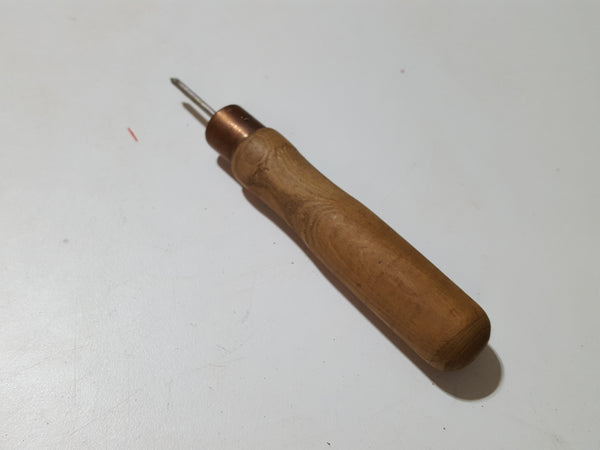 "Tiny 1"" Vintage Leather Working Awl w Copper Ferrule 33763"