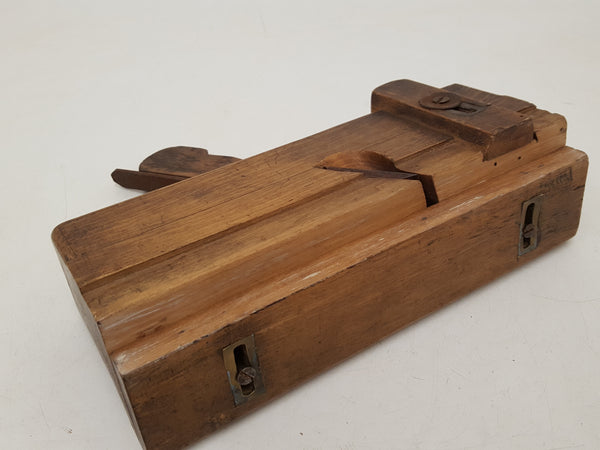 Vintage Skewed Wooden Plane w Depth Gauge & Moving Fence Old Worm 34781