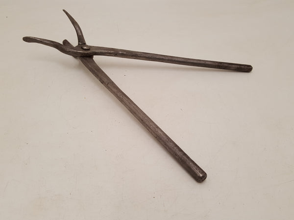 "Unusual 15"" Vintage 3 Prong Blacksmith Tongs 34786"