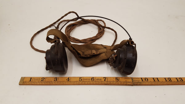 Very Nice Vintage WW2 British Army Headphones w/o Jack 36316