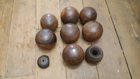 Set of 7 Wooden Ligum Lawn Bowling Balls Poss. Turning Project 37884