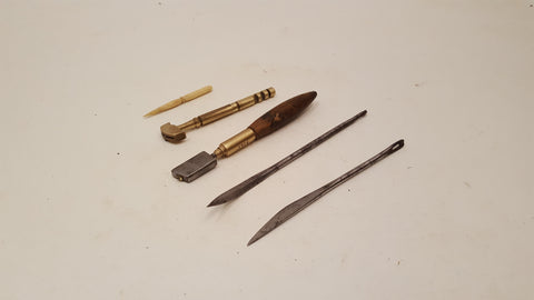 Mixed Vintage Tools Glass Cutters upholstery needles & Tooth Pick in Leather Case 37960