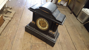 Beautiful Vintage Slate Mantle Piece Clock Project w Key 38099