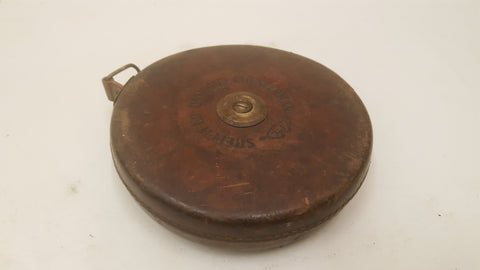 Vintage 100ft Chesterman Tape Measure in Leather Case 38510
