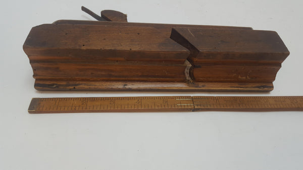 "Wm Moss 1798-1843 Moulding Plane Old Worm Damage 2"" Wide Boxed 12790-The Vintage Tool Shop"