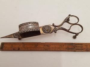 Vintage Candle Wick Trimmers w Ornate Engraving & Built in Stand 23169