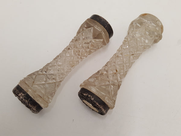 Pair of Incredible Vintage Carving Knife Stands Crystal & Silver 23334