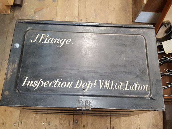 Beautiful Vintage Box w Ornate Writing Inspection Dept 26017