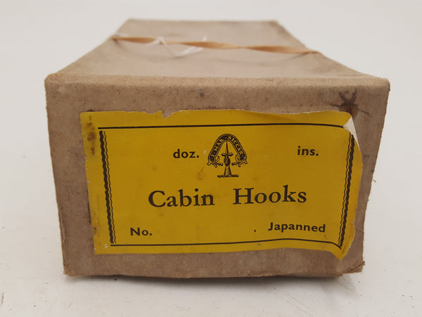 Job Lot of Vintage Japanned Cabin Hooks in Box 26031