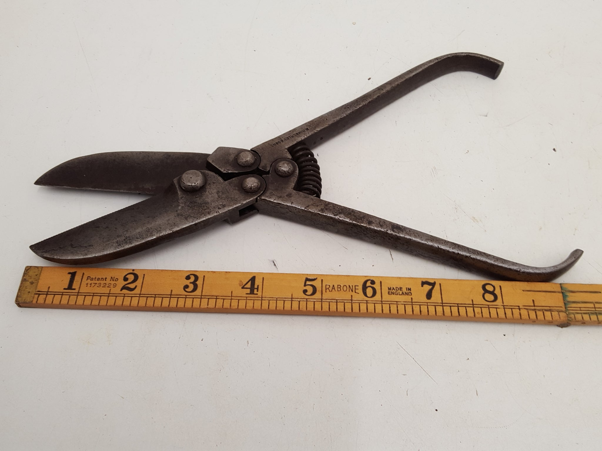 "Vintage 9 1/2"" D Kimberley & Sons Double Action Tin Snips 27815"