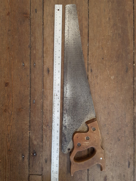 "22"" Vintage Panel Saw w 10 TPI & Wooden Tooth Protector 28129"