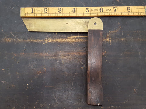 "5"" Vintage Brass & Wood Bevel 28497"