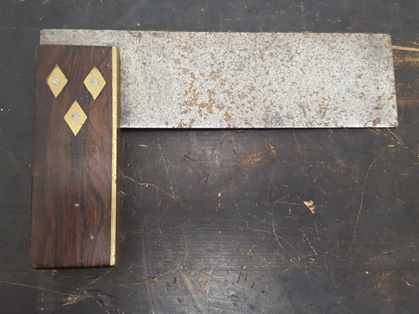 "6"" Vintage Brass Steel & Wood Try Square 28510"